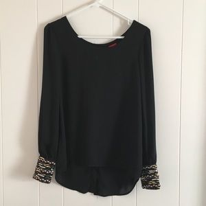 Daytrip • Black Embellished Sleeve Button Back Top